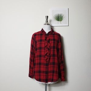 Gap red ruffle buffalo plaid check shirt Sz M.